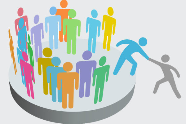 Helper helps person join people members company group